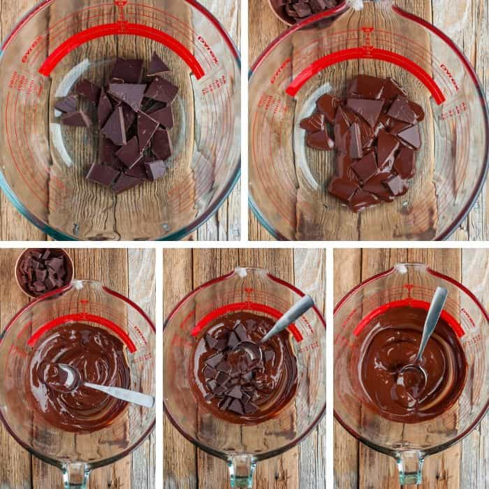 5 photos showing step by step how to temper chocolate
