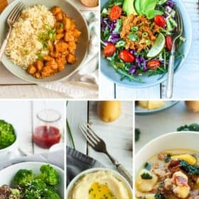 5 photos in a grid - orane chicken, chicken taco salad, broccoli beef, mashed potatoes, and zuppa toscana