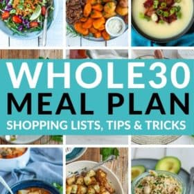 9 photos with a text overlay of Whole30 Meal Plan