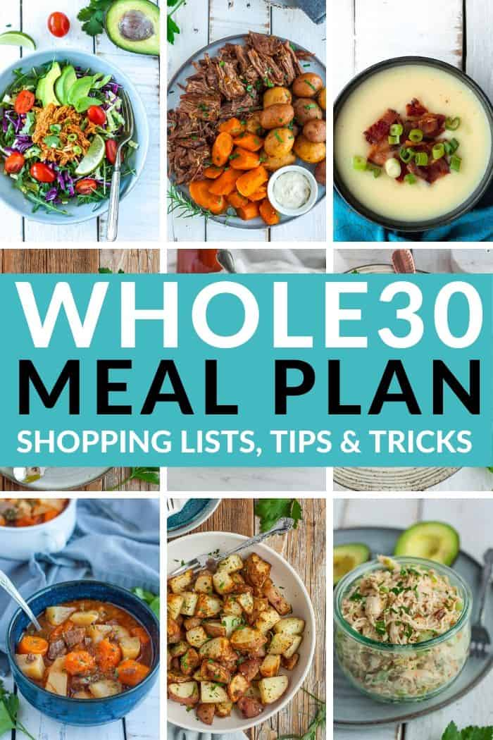 9 photos of food with a text overlay saying Whole30 Meal Plan, shopping lists, tips & tricks
