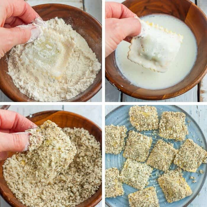 4 photos showing how to bread ravioli