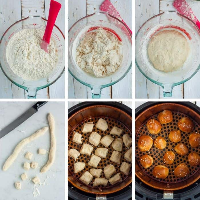 6 photos showing the step by step process for making homemade pretzels