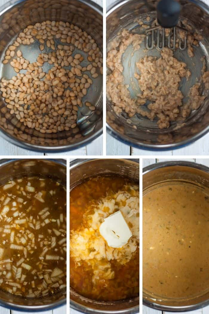 5 photos showing the steps for making instant pot chili