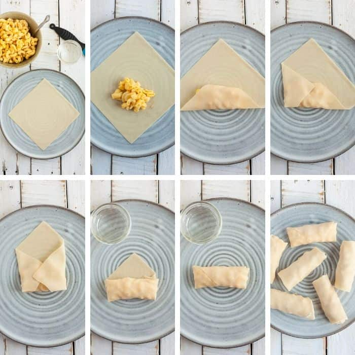 8 photos showing step by step photos on how to wrap and egg roll