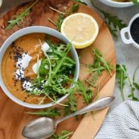 Vegan Carrot Ginger Soup with Red Lentils