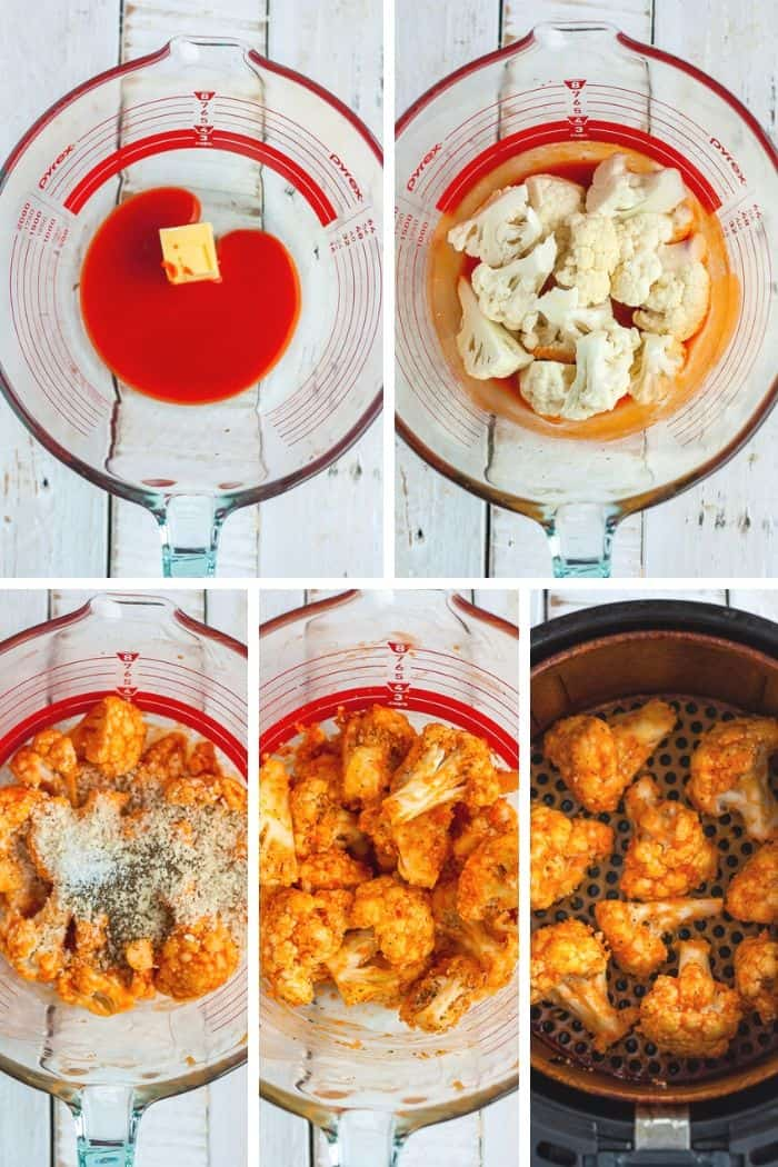 5 photos showing step by step photos in making vegan buffalo cauliflower