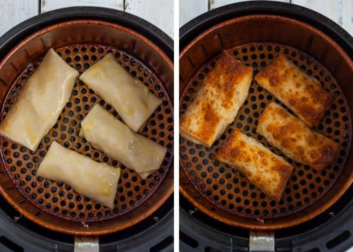 2 step by step photos showing how to make egg rolls in an air fryer