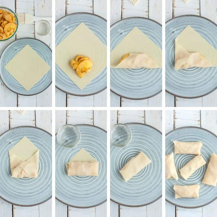 8 step by step photos showing the process of how to wrap an egg roll