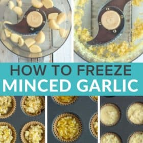 5 photos showing the steps for freezing minced garlic