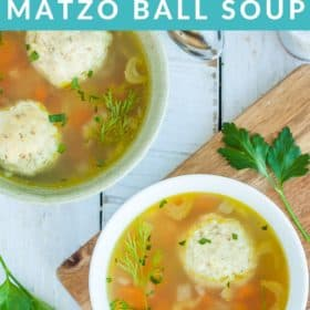 Two bowls of instant pot matzo ball soup with parsley