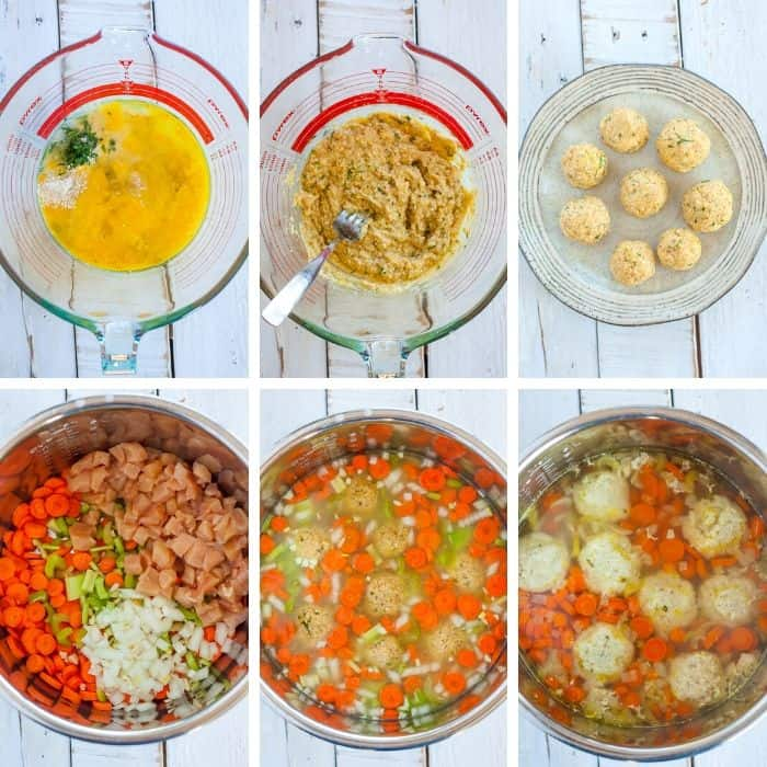 6 photos showing the steps for making Instant Pot Matzo Ball Soup