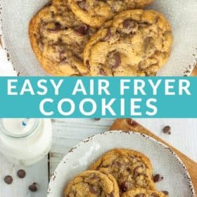 A tan plate with three chocolate chip cookies and a small bottle of milk