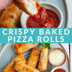 A hand dipping a pizza roll into a bowl of sauce with a plate of rolls