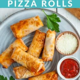 A grey plate with pizza rolls and a bowl of pizza sauce and another of parmesan