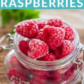 frozen raspberries in a glass jar