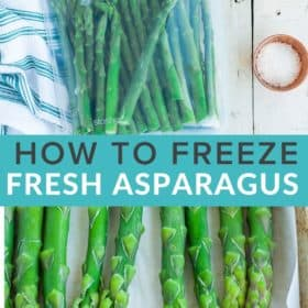 frozen asparagus on a baking sheet