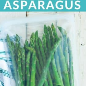 frozen asparagus in a freezer bag