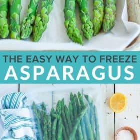 frozen asparagus on a baking sheet