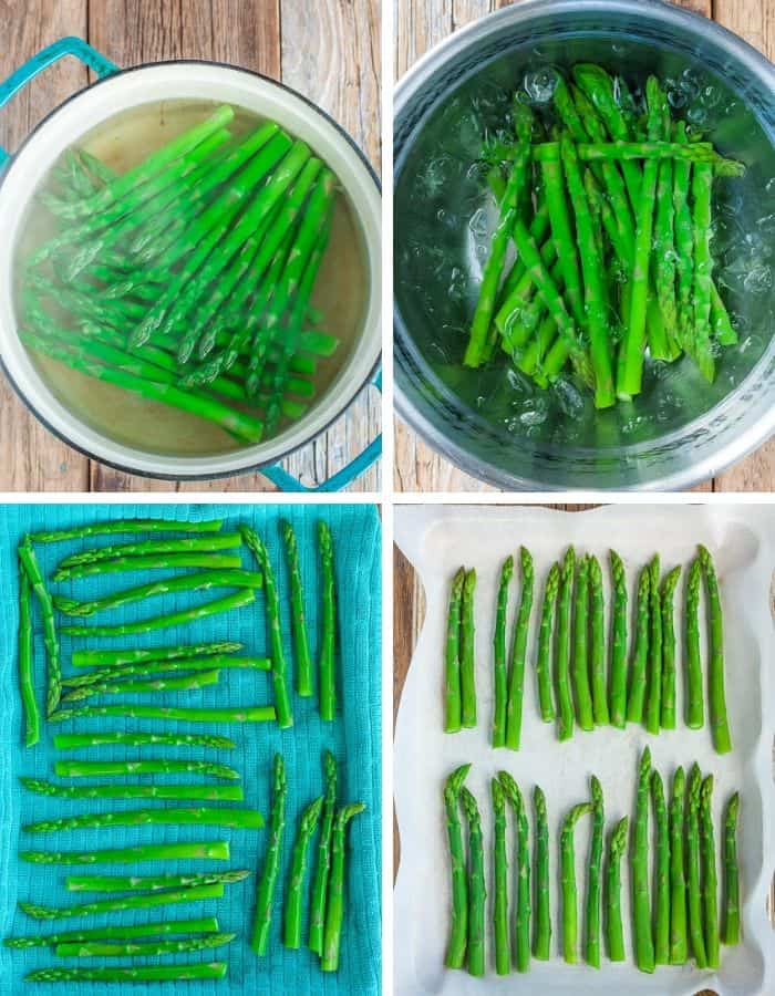 4 step by step photos showing the process of freezing asparagus