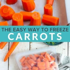 Frozen carrots on a baking sheet