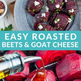 Hasselback roasted beets on a grey plate topped with goat cheese