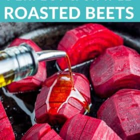 Beets in a cast iron skillet with olive oil being drizzled over it