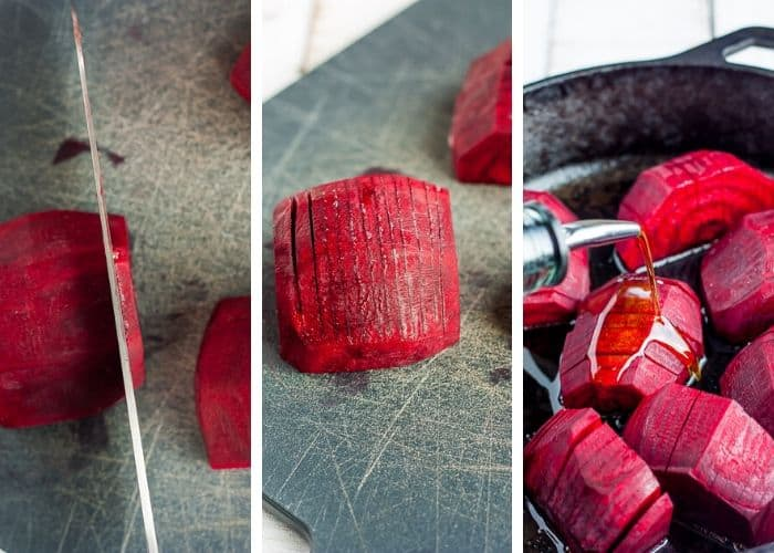 3 step by step photos showing how to hasselback beets