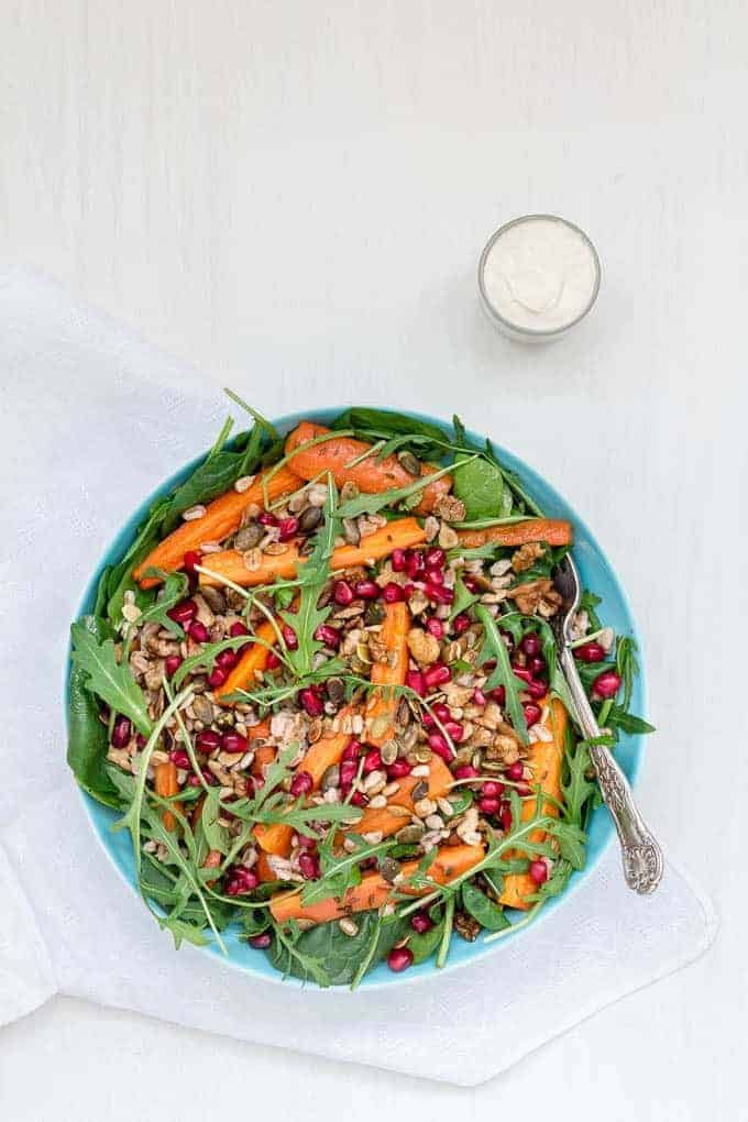 Roasted Carrot and Farro Salad With A Tahini Yoghurt Dressing