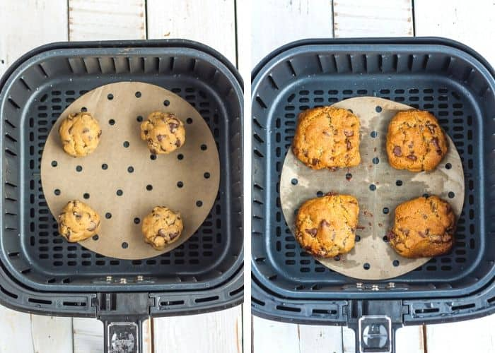 2 photos showing cookies being baked in an air fryer