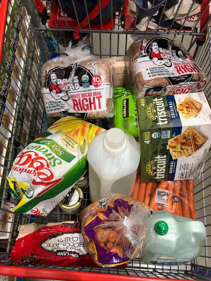groceries in a costco cart