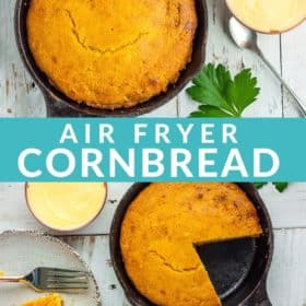 a cast iron skillet with cornbread on a white board with bowls of honey, butter, and cornbread muffins