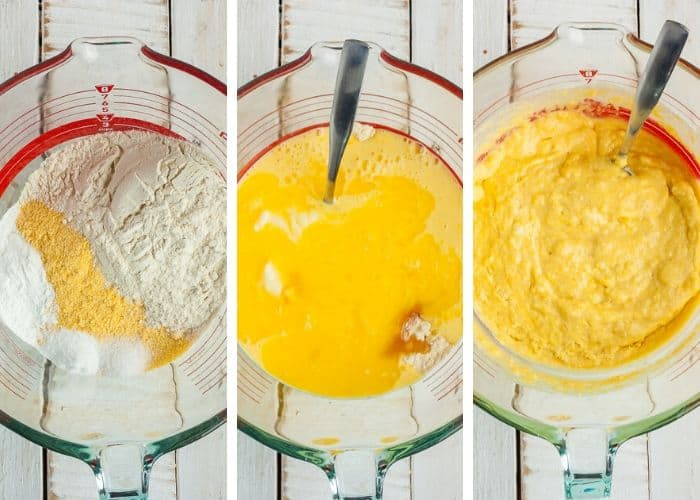 3 photos showing the process of mixing cornmeal