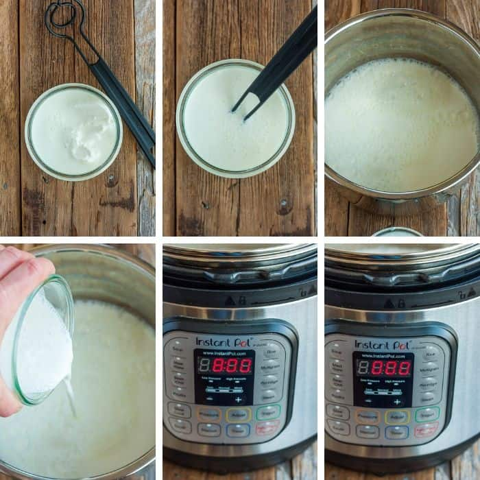 6 step by step photos showing the process of making cold start yogurt