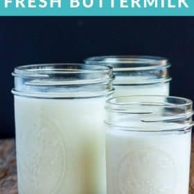 3 jars of buttermilk on a wooden board