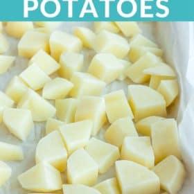 diced potatoes on a baking sheet