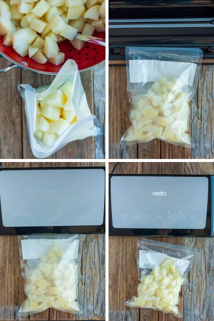 4 process photos showing how to use a Vesta Precision vacuum sealer to freeze potatoes
