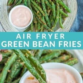 green bean fries being dipped into a small dish of dressing