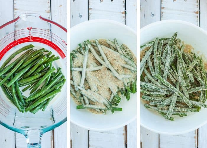 3 photos showing how to bread green beans
