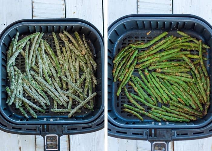 2 photos showing how to make green beans in an air fryer
