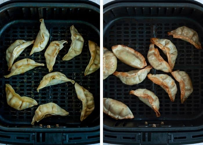 2 photos showing before and after shots of frozen potstickers in an air fryer basket