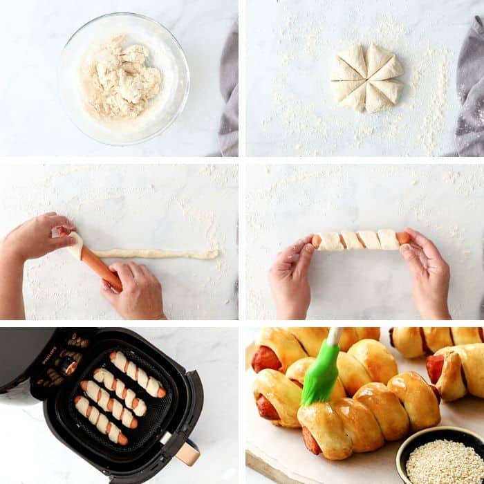 6 photos showing step by step how to make air fryer pretzel dogs