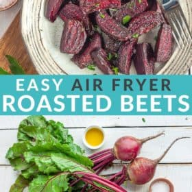 Air fryer roasted beets on a tan plate with a fork