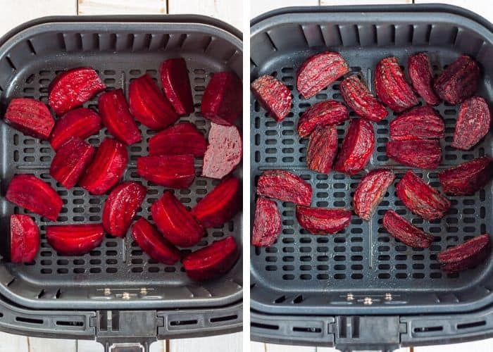 2 photos showing a before and after of beets being roasted in an air fryer