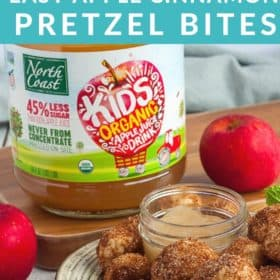 A dish of cinnamon pretzel bites with a bottle of North Coast Organic Apple Juice bottle in the background