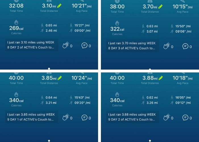 4 photos showing running times