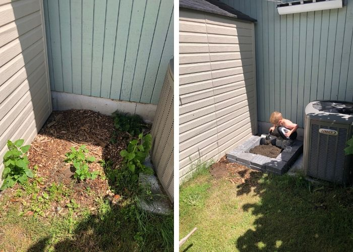 2 photos showing a before and after of a small garden planting area. One with a young boy planting seeds
