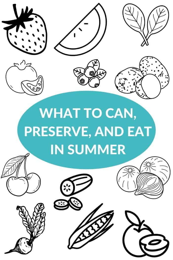 a blue bubble with text surrounded by illustrated produce