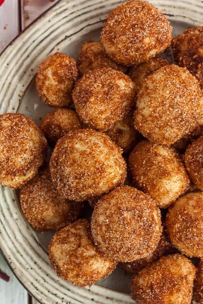 A plate of cinnamon sugar pretzel bites