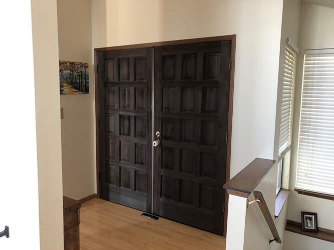 a large brown front door