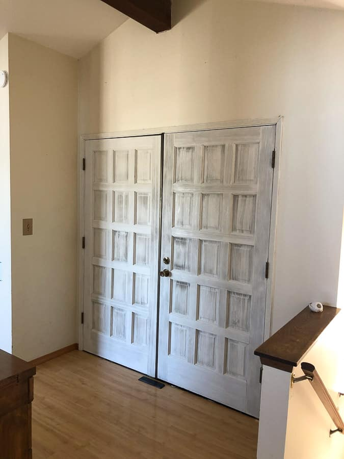 a large front door painted white